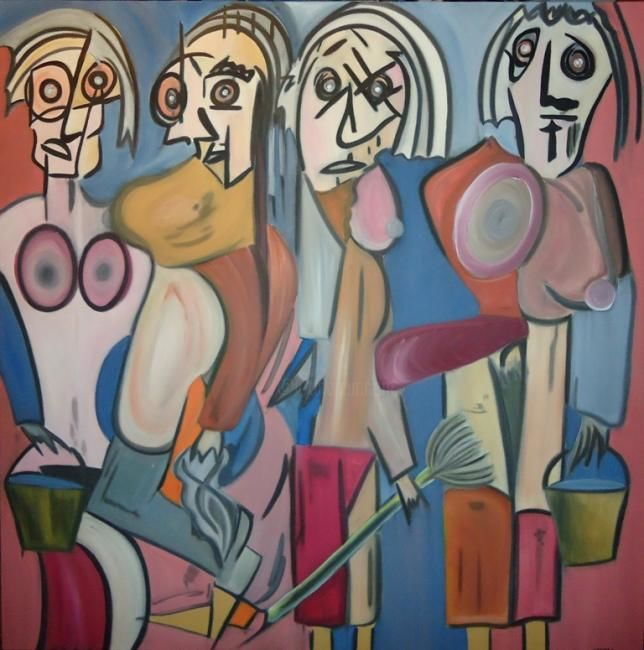 THE WASHERWOMEN´S - Painting,  100x100 cm ©2012 by Paulo Fontinha -