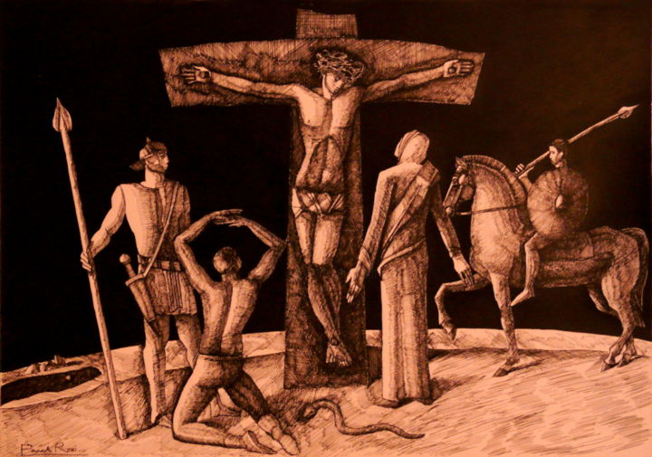 Crucifixion II Drawing by Paul Rossi   Artmajeur