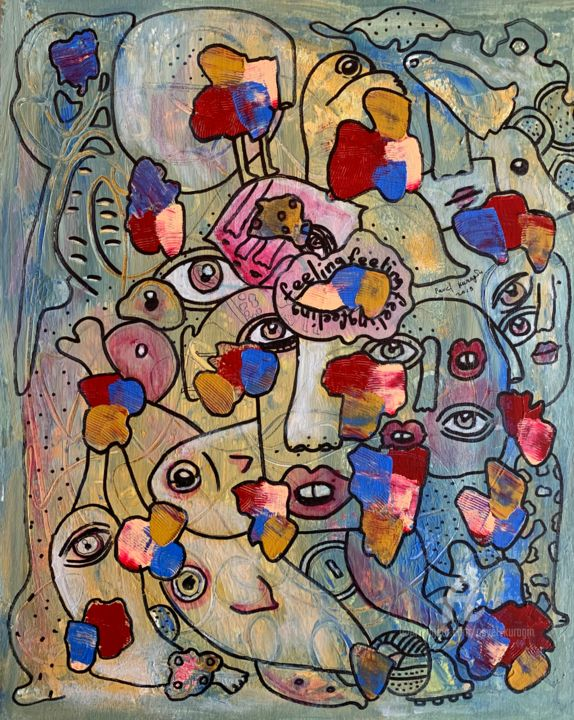 Spring feeling - Painting,  15.8x19.7x0.1 in ©2019 by Pavel Kuragin -                                            Abstract Art, Abstract Art, surreal, surrealism, spring, abstract people, drawing face, eyes