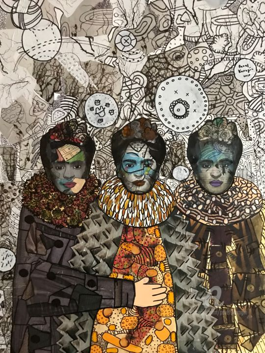 Three Frida Kahlo's sisters - Painting,  31.5x23.6x1.2 in ©2018 by Pavel Kuragin -                                                        Abstract Art, Surrealism, Celebrity, Frida Kahlo