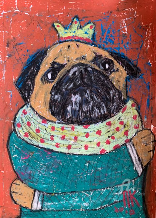 Hugging pug - © 2019 pug, pugs, dogs Online Artworks