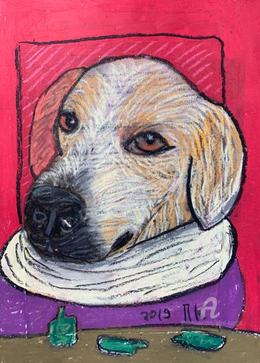 Drinking dog - Drawing,  11.7x8.3 in ©2019 by Pavel Kuragin -                                                                    Abstract Art, Naive Art, Surrealism, Dogs, dog
