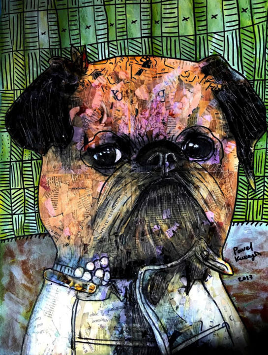 Portrait of exquisite dog - Collages,  23,4x16,5 in, ©2017 par Pavel Kuragin -                                                                                                                                                                                                                                                                      Abstract, abstract-570, Art abstrait, Chiens, dog