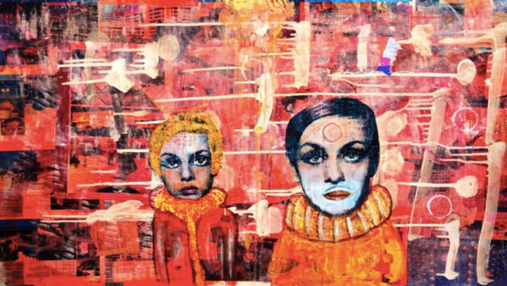 Clowns - Painting,  23x40.6x0.1 in, ©2016 by Pavel Kuragin -                                                                                                                                                                                                                                                                                                              Surrealism, surrealism-627, Abstract Art, Women, Pop Culture / celebrity, Portraits