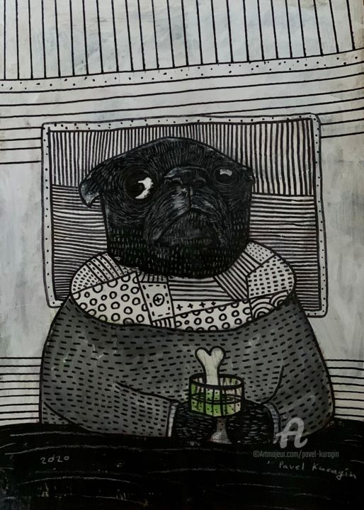What do you do while home alone? #5 - Painting,  23.4x16.5 in, ©2020 by Pavel Kuragin -                                                                                                                                                                                                                                                                                                                  Pop Art, pop-art-615, Dogs, pug, dog, artistsupportpledge