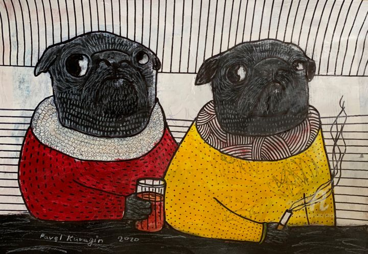 What do you do while home alone? #6 - Painting,  16.5x23.4 in, ©2020 by Pavel Kuragin -                                                                                                                                                                                                                                                                                                                                                                                                          Pop Art, pop-art-615, Animals, Dogs, pug, stayhome, artistsupportpledge, covid