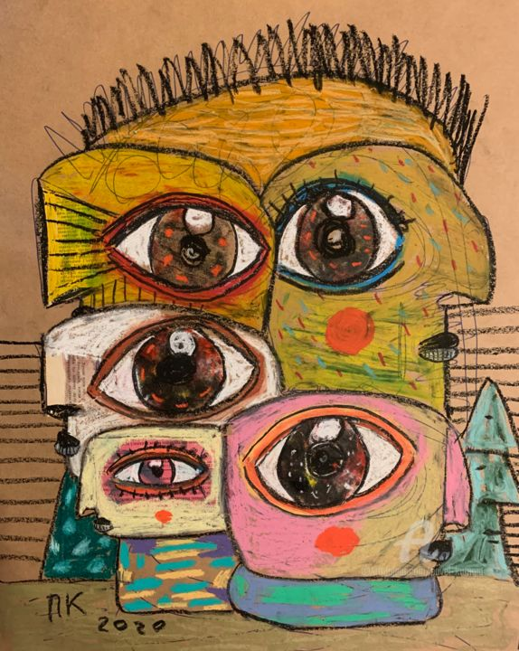 Network society - Drawing,  20.5x16.5 in, ©2020 by Pavel Kuragin -                                                                                                                                                                                                                                                                                                                  Surrealism, surrealism-627, Abstract Art, Portraits, artistsupportpledge, eyes