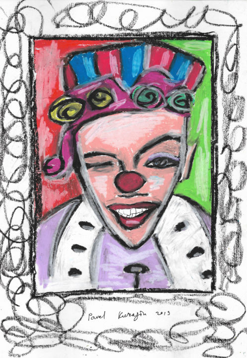 Happy clown - Drawing,  11.7x8.3 in, ©2019 by Pavel Kuragin -                                                                                                                                                                                                                                                                                                                                                              Abstract, abstract-570, Abstract Art, People, circus, clown, oil pastel