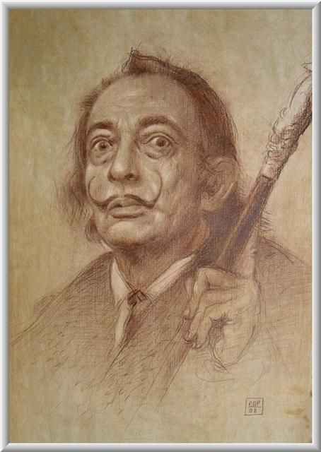 """Drawing titled """"""""Dali the Magician"""""""" by Pavel Pop, Original Art, Other"""