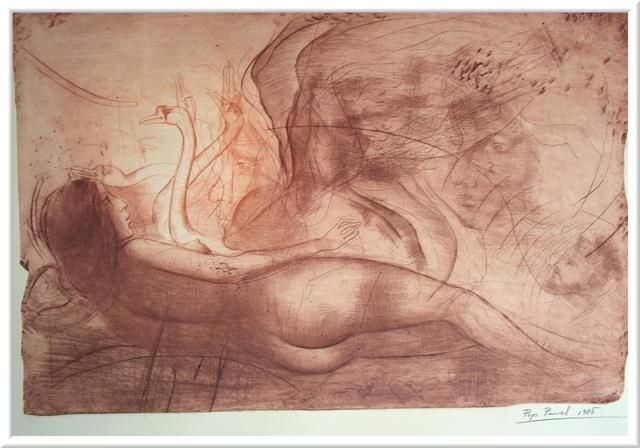 """Drawing titled """"""""Leda playing with…"""" by Pavel Pop, Original Art, Other"""