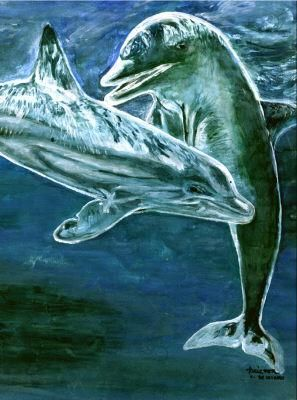 Ocean game - Painting ©1998 by Pavouk7 -                            Realism, animal art by tempera
