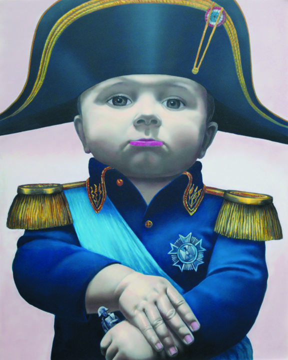 Napoleon-young generation - Mixed Media,  100x80x0.8 cm ©2018 by Pawel Luchowski -                                                            Photorealism, Aluminum, Performing Arts, Napoleon, Gallery print, Aluminium Druck, temporary