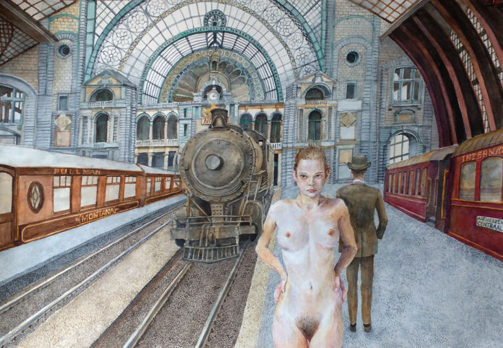 """Painting titled """"NA ANTWERPEN CENTRA…"""" by Paweł Mostowski, Original Art, Watercolor"""