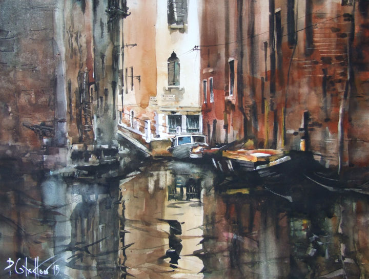 """Painting titled """"the Calm of Venice 2"""" by Pawel Gladkow, Original Art, Watercolor"""