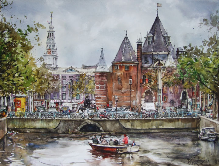 """Painting titled """"Amsterdam"""" by Pawel Gladkow, Original Art, Watercolor"""