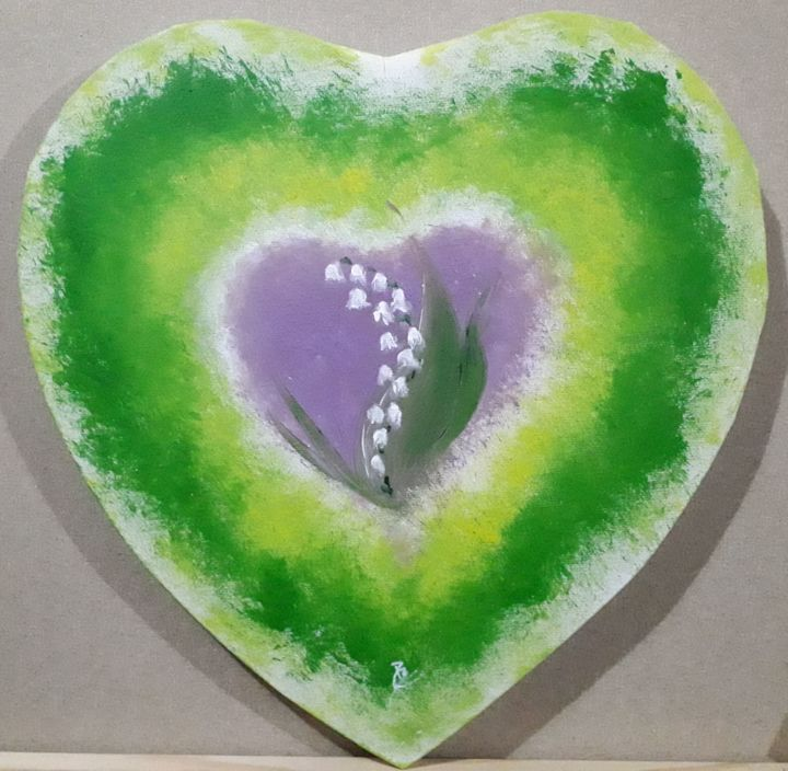 Thrush heart - Painting,  11.4x11.4x0.8 in, ©2019 by Pascal BOULOMMIER -                                                                                                                                                                                                                                                                                              Love / Romance, Flower, muguet, coeur, rose, fleurs