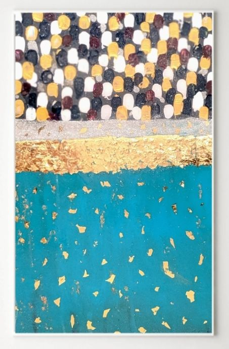 Gold leaf blooms - Painting,  36x24x1 in, ©2019 by Memoir Pictures -