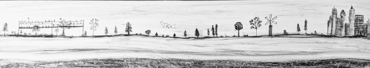 Shades of grey - Painting,  10x48x0.5 in, ©2019 by Memoir Pictures -