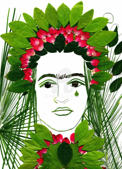 fridajunecrownpink-06.jpg - ©  Frida, Painting with Plants, Drapala, Portrait, florals, One of a kind art work Online Artworks