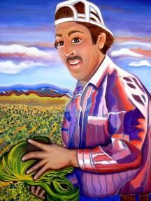 Jorge (in the lettuce fields of Yuma) - Painting ©2005 by Drapala Gallery -