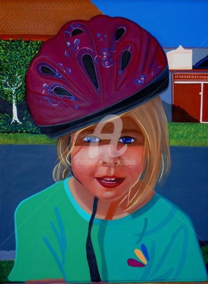 """Painting titled """"Claudia, Kids on th…"""" by Drapala Gallery, Original Art,"""