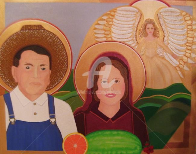 Patron Saint of the Farm Workers - Painting,  30x24 in ©2012 by Drapala Gallery -