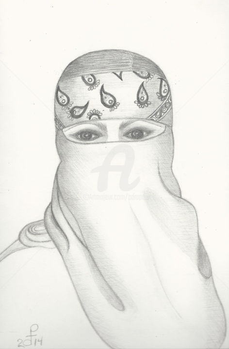 lady-covered-completely-yfw-001.jpg - Drawing, ©2014 by Drapala Gallery -