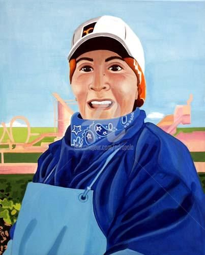 Field Worker Series - Pay Day - Painting, ©2004 by Drapala Gallery -                                                                                                                                                                          Figurative, figurative-594, Migrant Field Worker Series - Pay Day