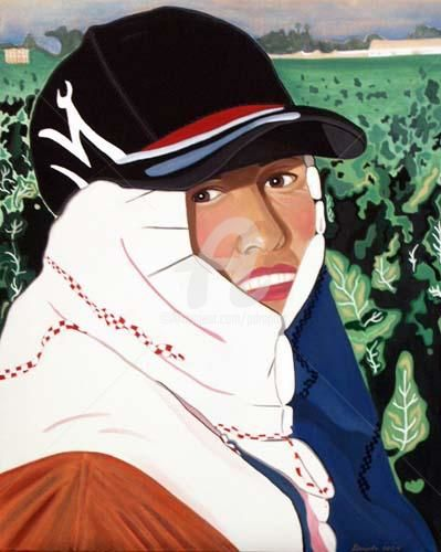 Worker Series - Eve - Painting ©2004 by Drapala Gallery -                            Figurative Art, Migrant Field Worker Series