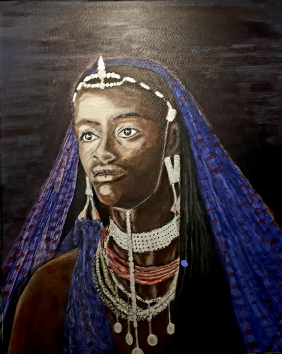 Princesse Massai - Painting,  18.1x15x1.2 in, ©2019 by Pedro Bujeque (Rey) -                                                                                                                                                                                                                          Figurative, figurative-594, Women, femme Afrique