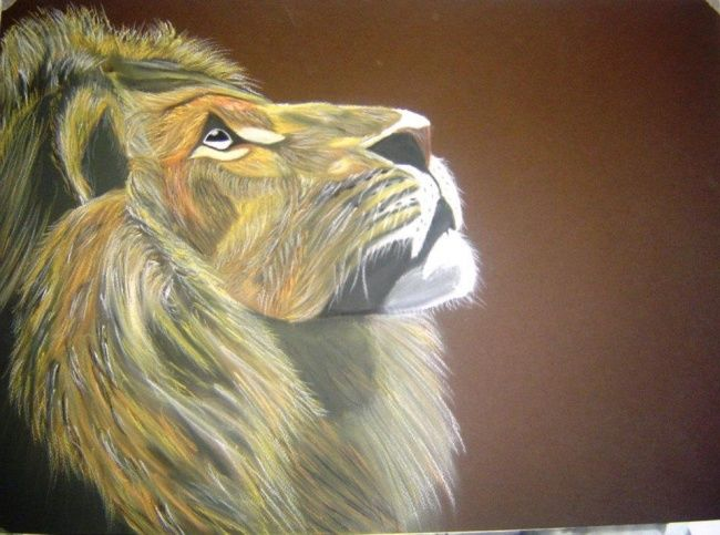 LION - Painting,  50x65 cm ©2012 by Pedro Ribeiro -