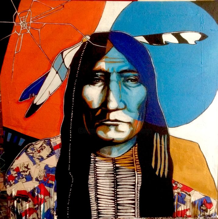 Native american 4 - Painting,  80x80x3 cm ©2017 by MargO -                                                        Figurative Art, Other, Portraits