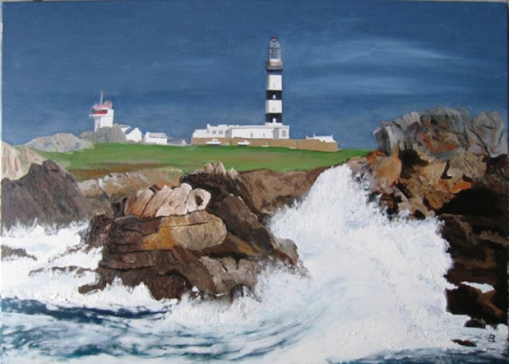 139-vague-a-ouessant.jpg - Painting,  19.7x27.6 in, ©2008 by Bernard LEDOYEN -                                                                                                                                                                          Figurative, figurative-594, marine;vague;ouessant;phare;ile