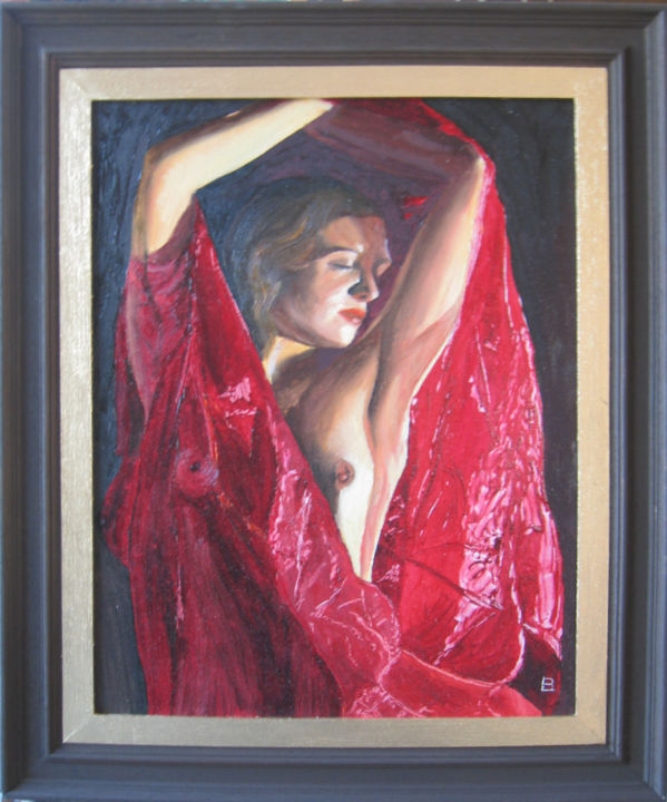 127 belle rouge - Painting,  16.1x12.6 in, ©2008 by Bernard LEDOYEN -                                                                                                          voile, rouge