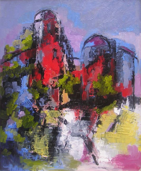 chateau.jpg - Painting,  36x48 cm ©2008 by Maxemile -                                                            Abstract Art, Canvas, Abstract Art, PEINTURES