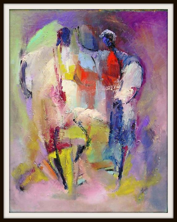danse-orientale.jpg - Painting,  60x73 cm ©2007 by Maxemile -                                                            Abstract Expressionism, Canvas, People, peintures