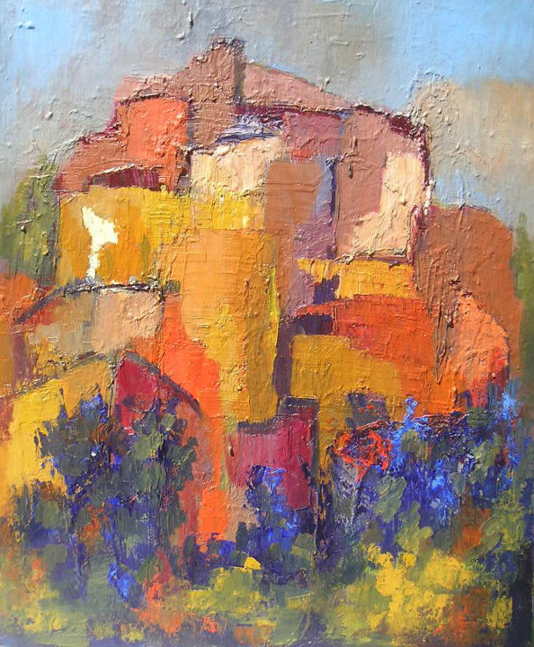 improvisation-16-village.jpg - Painting ©2008 by Maxemile -                                                            Abstract Expressionism, Canvas, Landscape, peintures