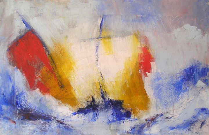 voiliers-dans-la-tempete.jpg - Painting,  24x33 cm ©2015 by Maxemile -                                                            Abstract Expressionism, Canvas, Sailboat, peintures