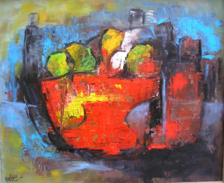 nature-morte3.jpg - Painting,  46x55 cm ©2015 by Maxemile -                                                            Abstract Expressionism, Canvas, Still life, peintures