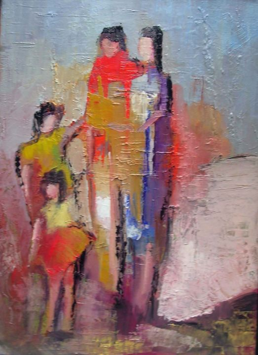 famille-2.jpg - Painting,  38x46 cm ©2015 by Maxemile -                                                            Abstract Expressionism, Canvas, Family, peintures