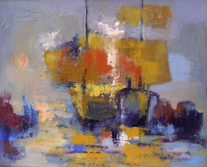 improvisation33-bateaux.jpg - Painting,  46x55 cm ©2015 by Maxemile -                                                            Abstract Expressionism, Canvas, Boat, peintures