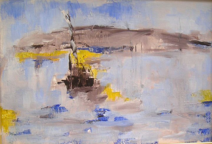 sans-titre-2.jpg - Painting,  38x55 cm ©2011 by Maxemile -                                                            Abstract Expressionism, Canvas, Boat, peintures