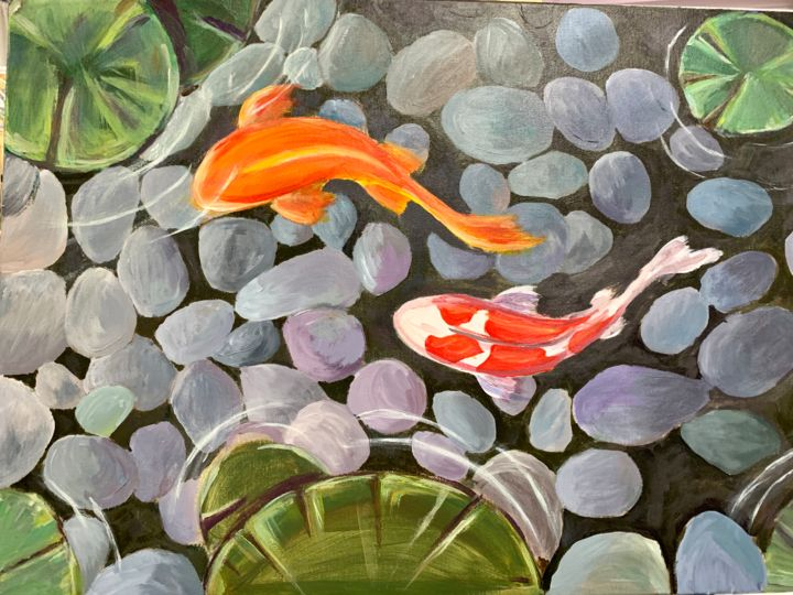 """Painting titled """"Koi Fish"""" by Penelope Giannakopoulou Πηνελόπη Γιαννακοπούλου, Original Art, Acrylic"""