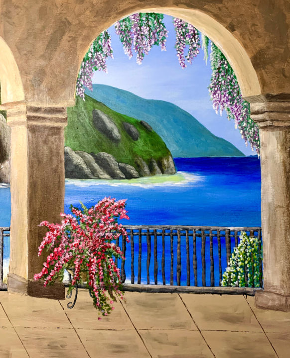 """Painting titled """"Balcony View"""" by Penelope Giannakopoulou Πηνελόπη Γιαννακοπούλου, Original Art, Acrylic"""