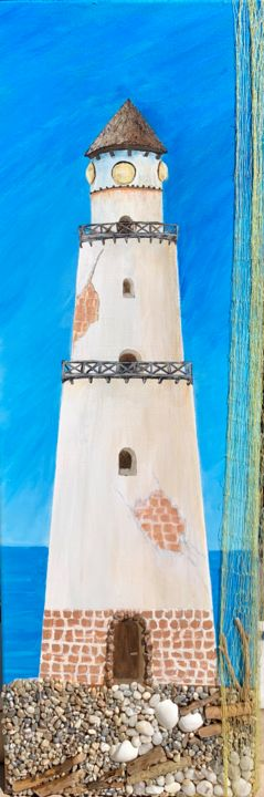 """Painting titled """"Lighthouse"""" by Penelope Giannakopoulou Πηνελόπη Γιαννακοπούλου, Original Art, Acrylic"""