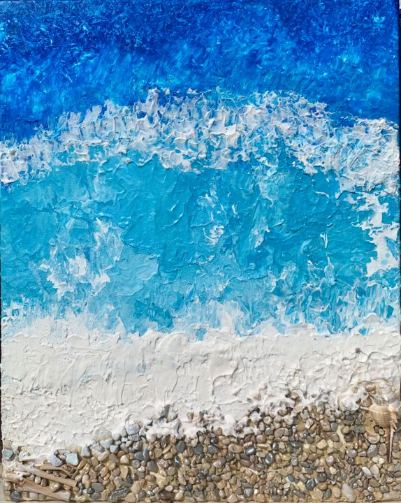 """Painting titled """"Blue Waves"""" by Penelope Giannakopoulou Πηνελόπη Γιαννακοπούλου, Original Art, Acrylic"""