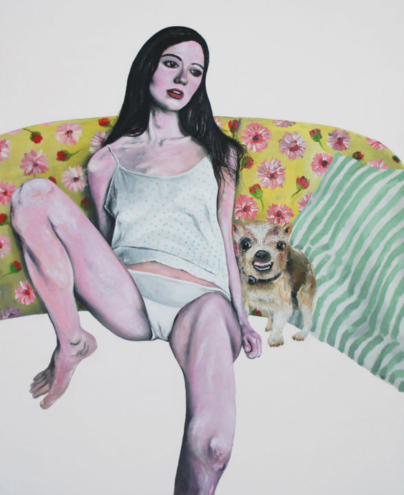 Ce matin (107x127cm) - Painting,  127x107x3 cm ©2017 by peng nghia -                                                                                                                                                                    Figurative Art, Impressionism, Modernism, Contemporary painting, Portraiture, Canvas, Dogs, Body, Women, Home, People, Erotic