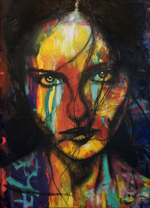 Face (70x100cm) - Painting,  100x70x3 cm ©2018 by peng nghia -                                                                                                                                            Figurative Art, Expressionism, Contemporary painting, Portraiture, Canvas, Love / Romance, Colors, Nude, Portraits, Time