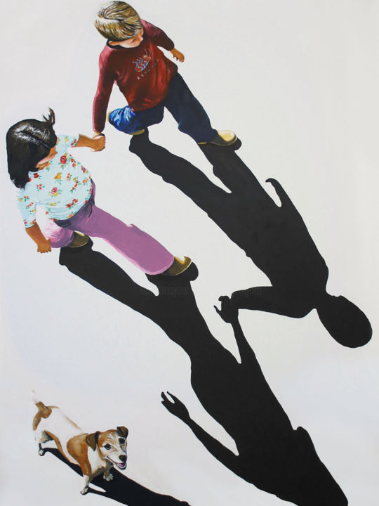 Johnny and Mary (105x135cm) - Painting,  135x105x3 cm ©2018 by peng nghia -                                                                                                                            Conceptual Art, Art Deco, Figurative Art, Expressionism, Animals, Performing Arts, Dogs, Kids, Family