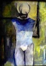 """Painting titled """"Mother in Blue"""" by Reija Gross, Original Art, Oil"""